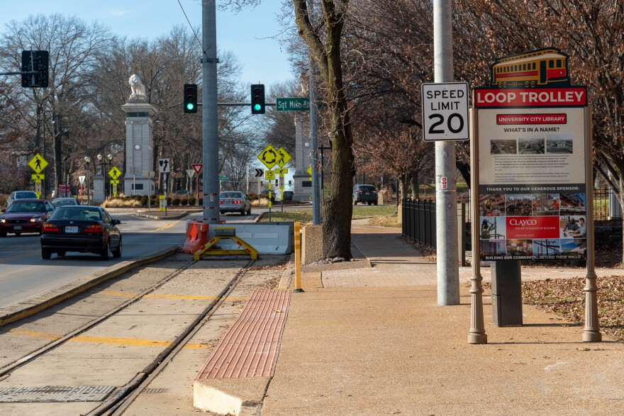 Delmar Loop Trolley stop in front of University City Library on Dec. 23, 2019.