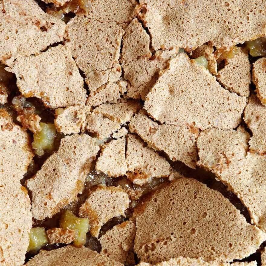 Huguenot torte has gooey caramel beneath a crackly top