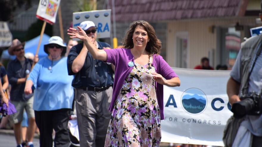 Tedra Cobb, the Democrat congressional candidate who was secretly taped talking about gun control, marched in a parade with supporters in Ogdensburg, New York in late July.