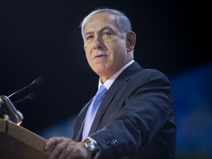 "Israeli Prime Minister Benjamin Netanyahu speaks at the American Israel Public Affairs Committee Policy Conference in Washington earlier this month. In an interview with NPR's <em>Morning Edition</em>, Netanyahu said a separate Palestinian state is unachievable ""under the present circumstances."""