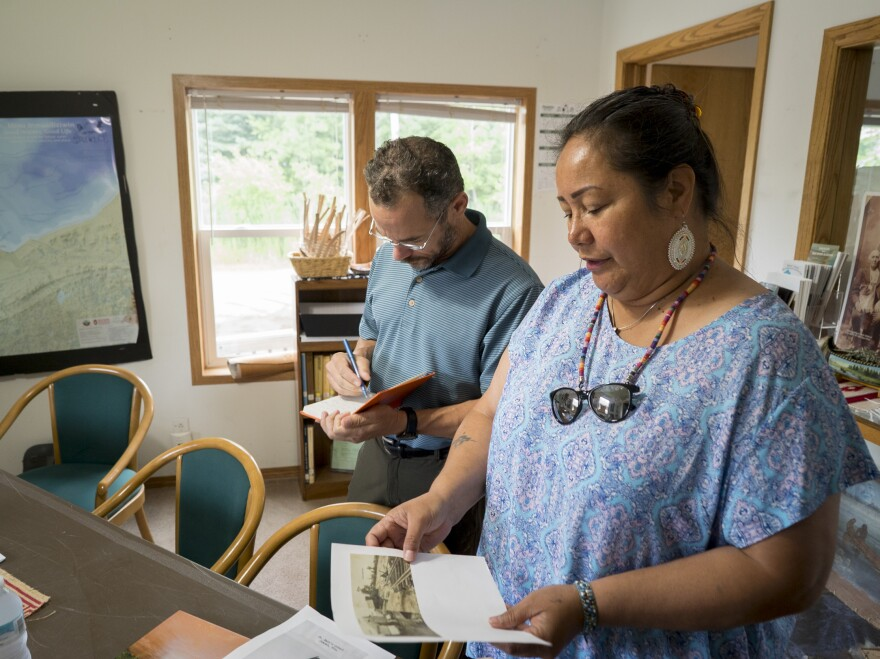 Edith Leoso, the historian for the Bad River Band of the Lake Superior Chippewa Tribe, explains the area's flood history to Nicholas Pinter of the University of California, Davis.