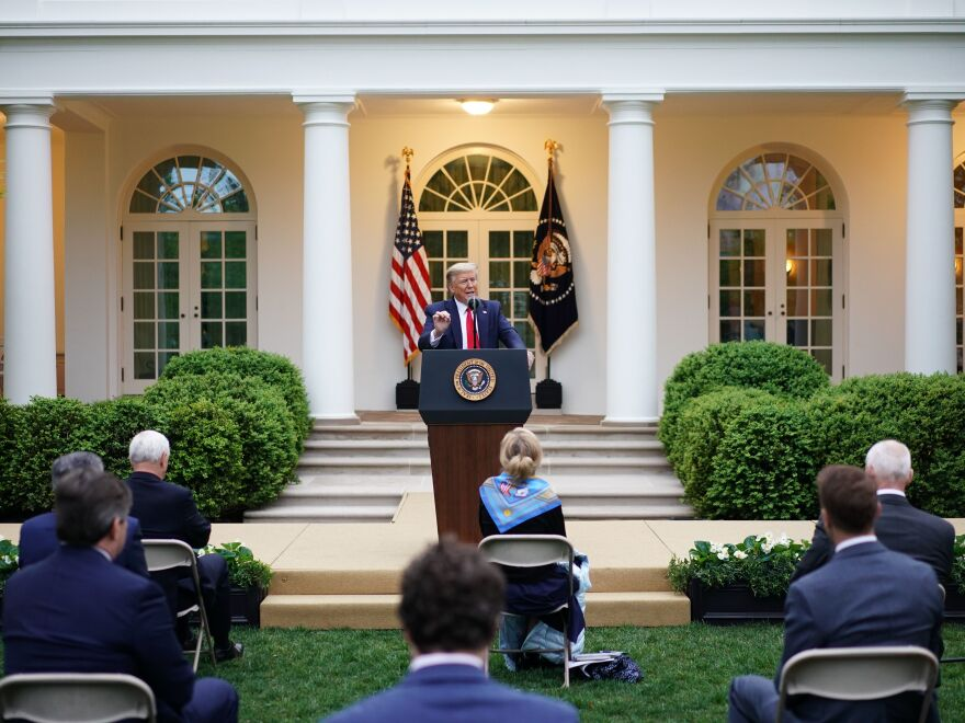 President Trump speaks during the daily briefing on the coronavirus in the Rose Garden of the White House Tuesday.