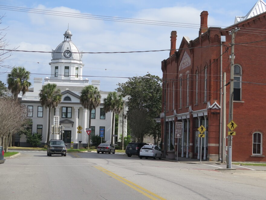 The Opera House and the Jefferson County Courthouse in Monticello, Fla., are at the center of its historic downtown.