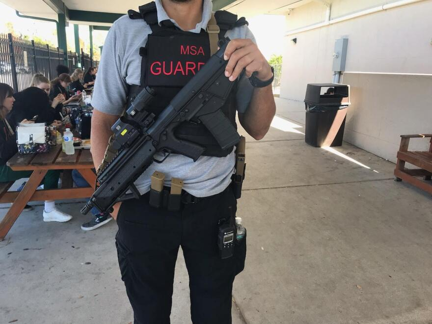 Armed Guardians work at the Manatee School for the Arts.