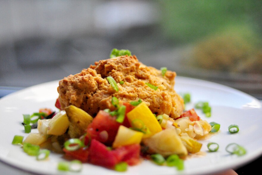 The Savory Summer Cobbler from the <em>Cheap and Good</em> cookbook features seasonal vegetables under a peppery biscuit crust.
