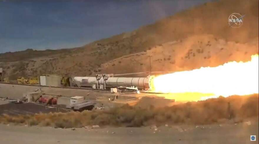 Northrop Grumman test fires a full-scale SLS booster from Promontory, Utah. The test will support the design of future SLS boosters beyond NASA's Artemis III mission. Photo: NASA / NASA TV