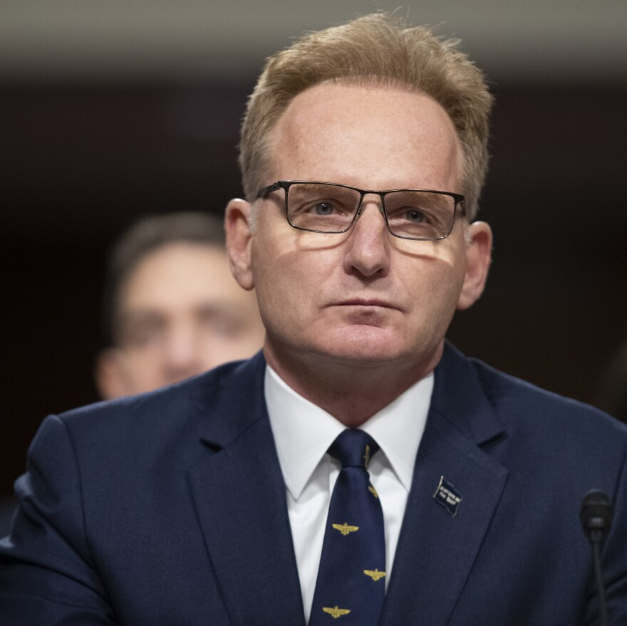 Acting Navy Secretary Thomas Modly testifies during a hearing of the Senate Armed Services Committee in December. On Thursday, Modly relieved Captain Brett Crozier of command of the USS Theodore Roosevelt.
