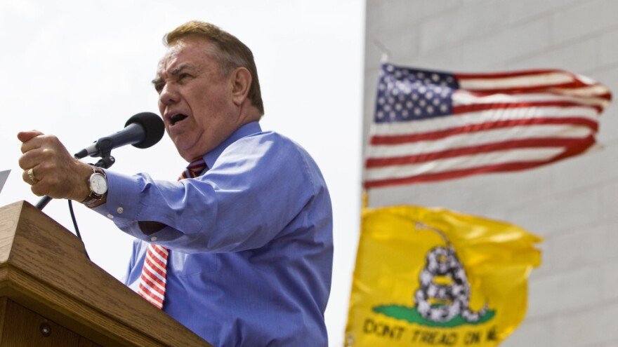Former Wisconsin Gov. Tommy Thompson addresses a Tea Party rally in Madison, Wis., in 2010.