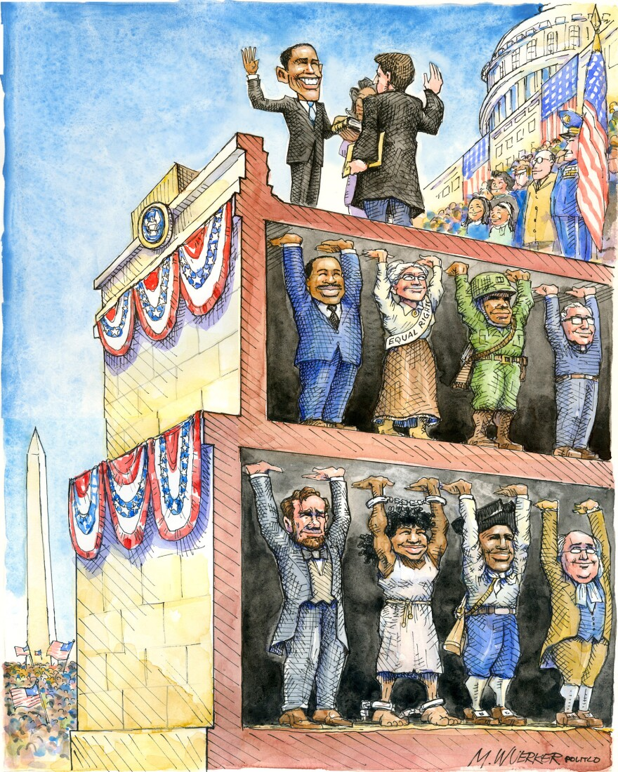 "Matt Wuerker borrowed the concept of ""œstanding on the shoulders of giants"" in his cartoon for the inauguration in 2009."