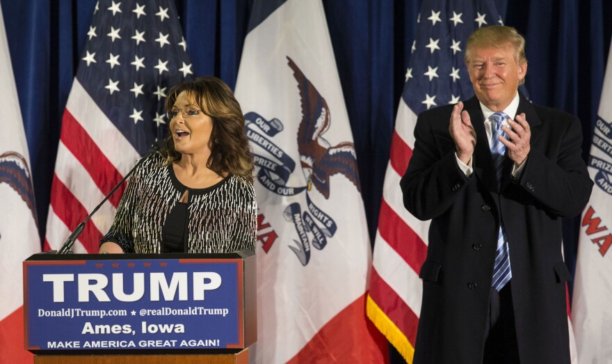 Former Alaska Gov. Sarah Palin announces her endorsement of Republican presidential candidate Donald Trump in Ames, Iowa, on Tuesday.