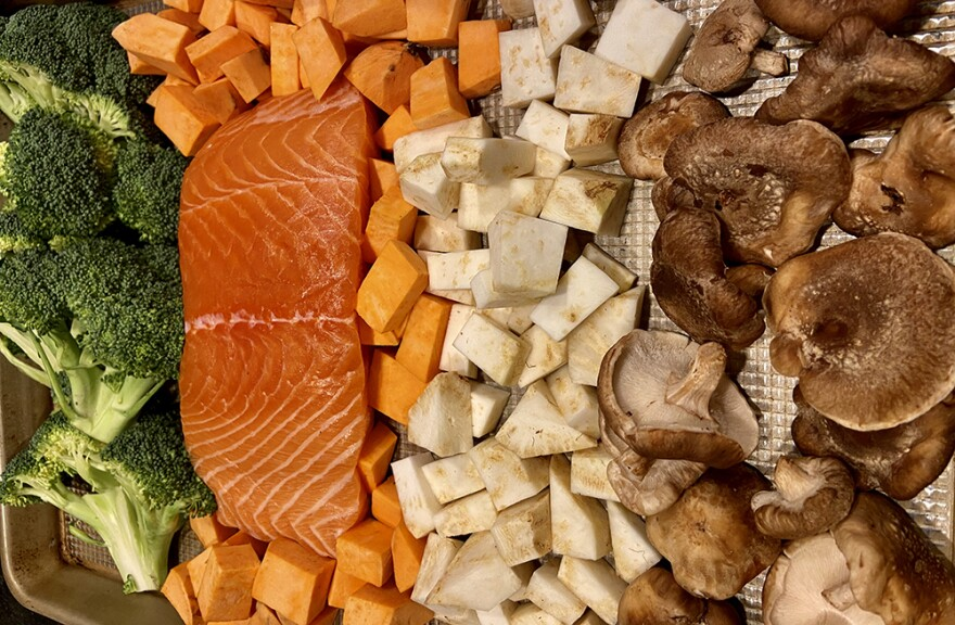 Soy-Honey-Ginger Salmon Sheet Pan With Broccoli, Sweet Potatoes And Mushrooms. (Kathy Gunst)