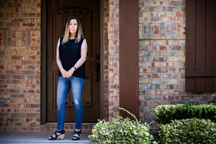 Blake Taylor outside her home in Round Rock.