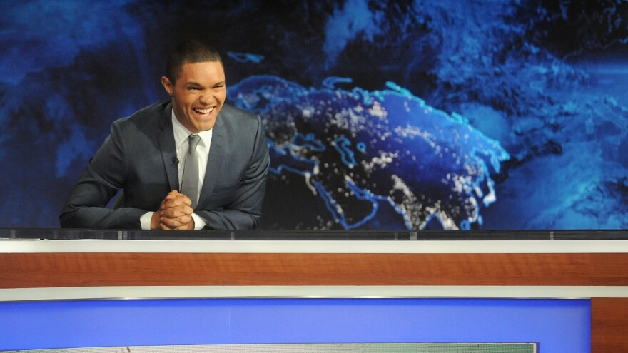 Comedian Trevor Noah hosts his first episode of <em>The Daily Show </em>on Sept. 28.