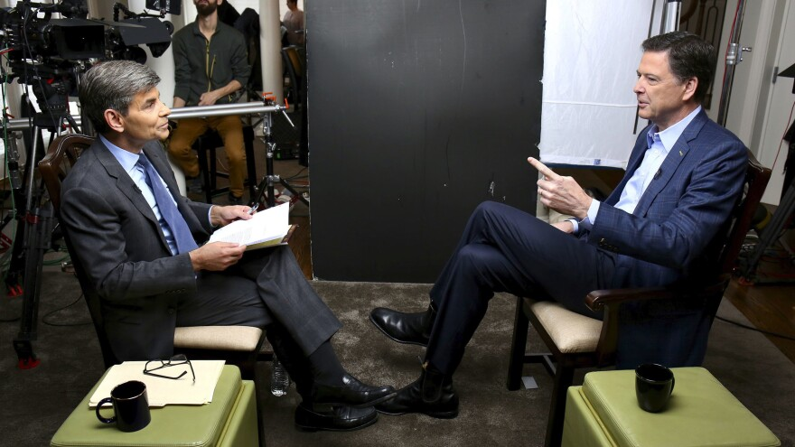 In this image released by ABC News, correspondent George Stephanopoulos (left) appears with former FBI director James Comey for a taped interview that aired during a prime-time <em>20/20</em> special on Sunday.