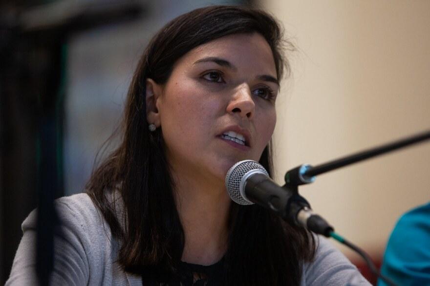 Mariana Salzar at a forum in East Austin in 2018