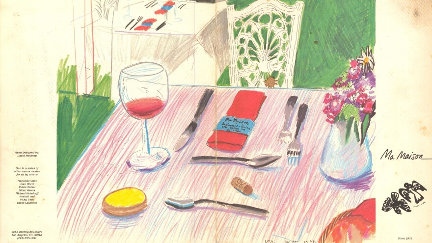 Ma Maison menu cover by David Hockney.