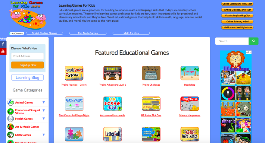 Screenshot of website that offers online activities and educational games for children.