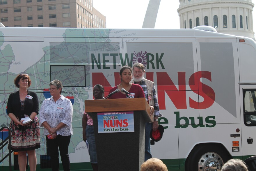 """Several local social justice activists spoke during the """"Nuns on the Bus"""" rally."""