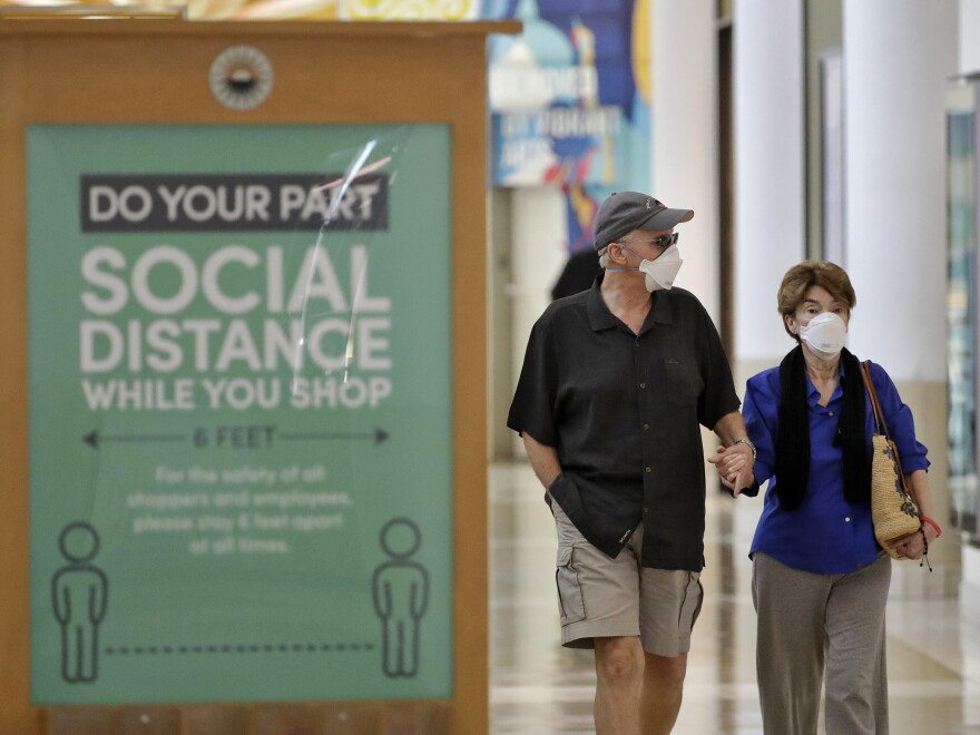 Shoppers began showing up earlier this month at International Plaza in Tampa, Fla. Mall business has been slow to pick up, with a lot of people still reluctant to venture out.