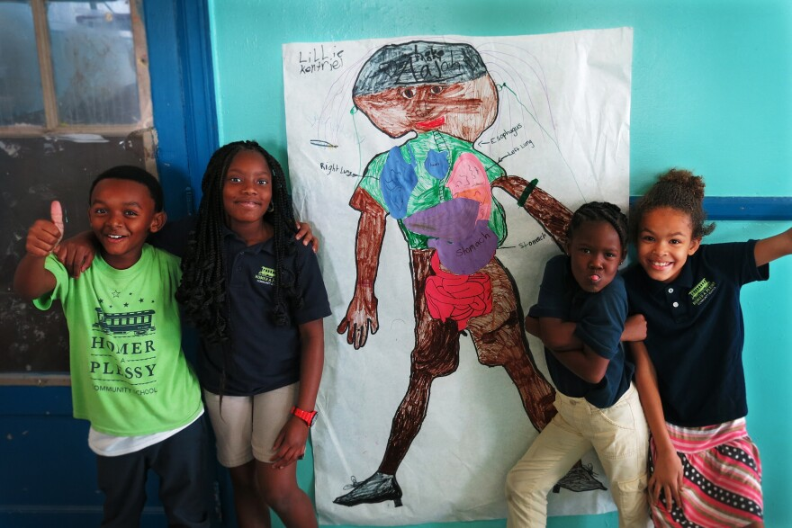 Art projects like these anatomy murals are woven into the curriculum at the Homer Plessy Community Charter school in New Orleans.