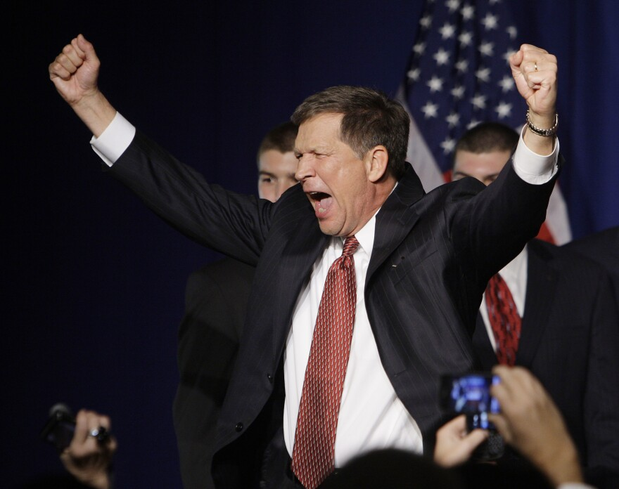 Then Gov.-elect John Kasich celebrates his win on Nov. 3, 2010, in Columbus, when the GOP grabbed four statewide offices from Democrats, including governor; racked up a majority of the congressional delegation; and retained a U.S. Senate seat.