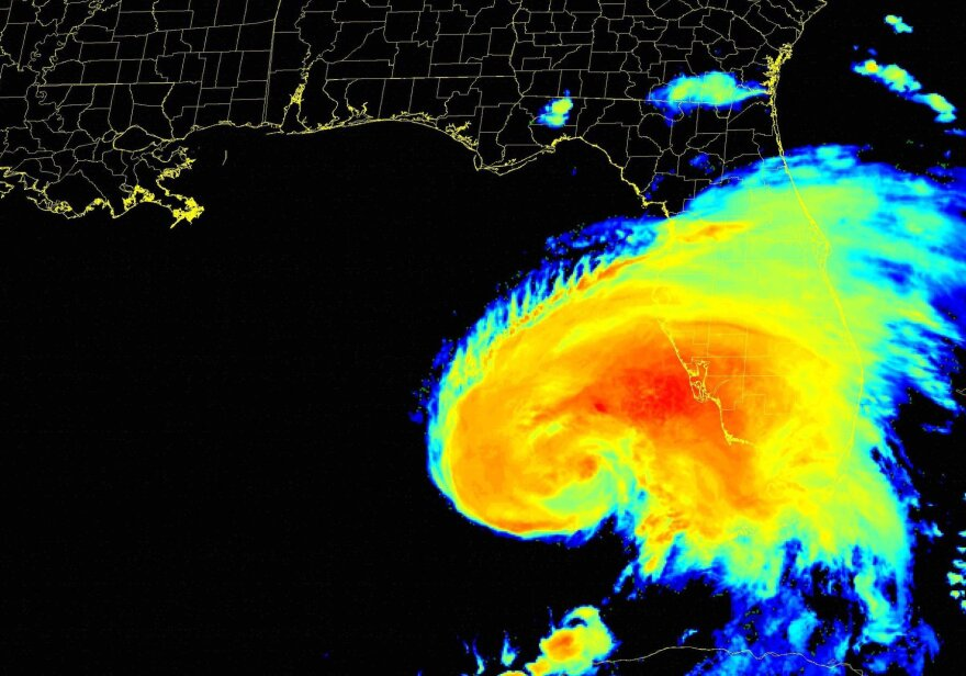 Radar map of Tropical Storm Eta approaching the Tampa Bay region.