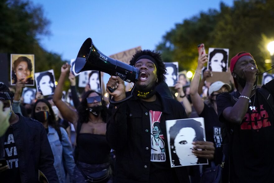 Demonstrators march along Constitution Avenue in protest following a Kentucky grand jury decision in the Breonna Taylor case on September 23, 2020 in Washington, DC. (Drew Angerer/Getty Images)