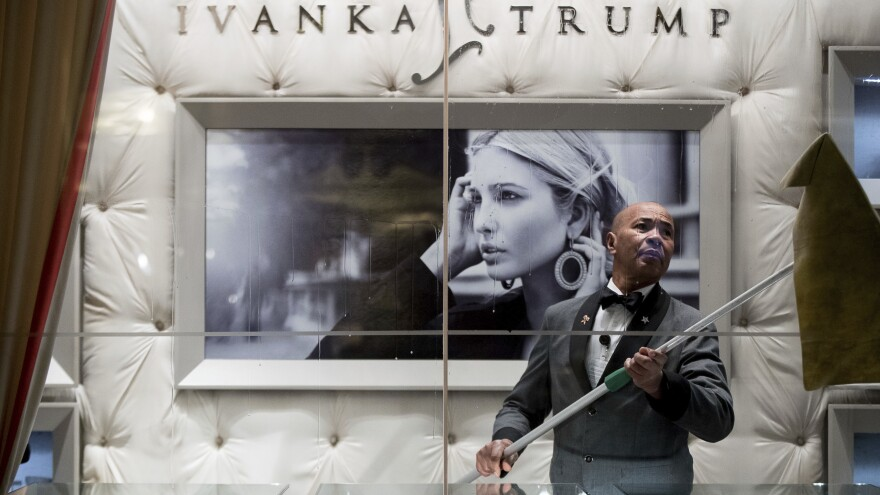 A worker cleaned the windows of the Ivanka Trump Collection in the lobby of Trump Tower in New York last month.