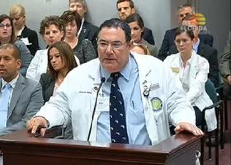FMA President Dr. Allen Pillersdorf argues against expanded nurse powers in the House Health Innovation Committee on 3/25/15.