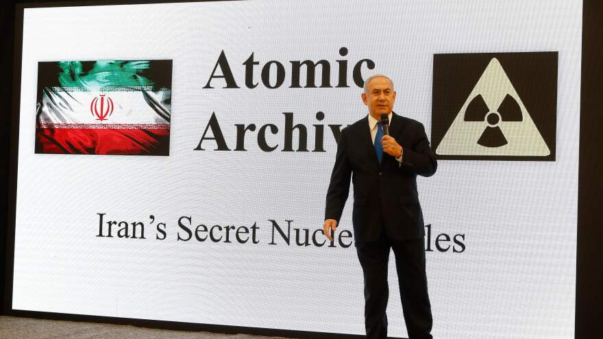 Israeli Prime Minister Benjamin Netanyahu delivers a speech Monday in Tel Aviv on Iran's former nuclear weapons program.
