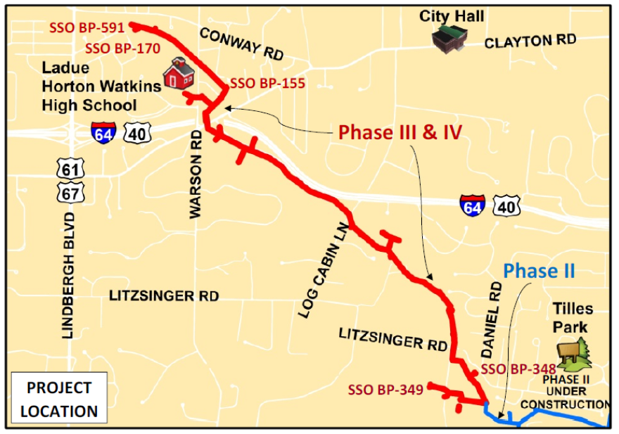 A map of a sewer line the Metropolitan St. Louis Sewer District began building in Ladue in September 2019.
