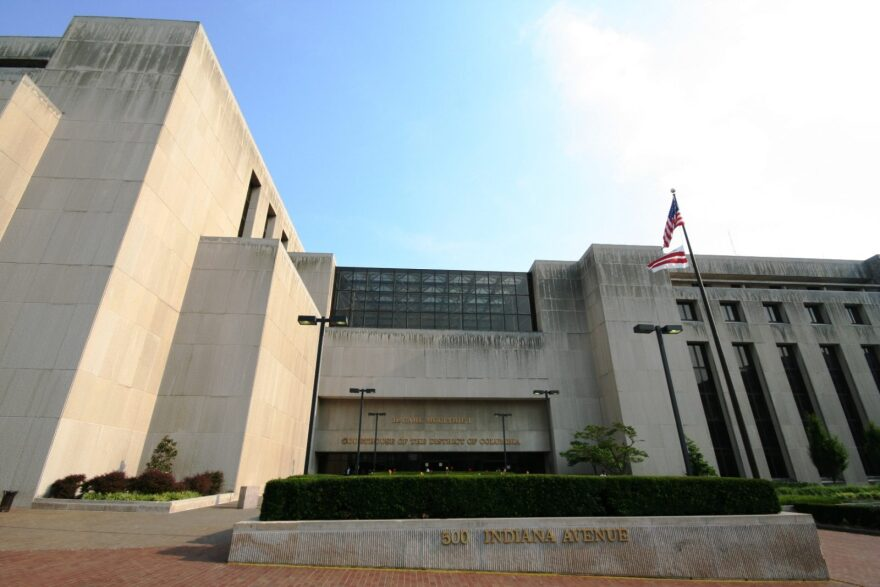 The H. Carl Moultrie Courthouse, part of the Superior Court of the District of Columbia as seen in 2007. As officials work to avoid large group gatherings, spaces like courtrooms and detention facilities are under close scrutiny.