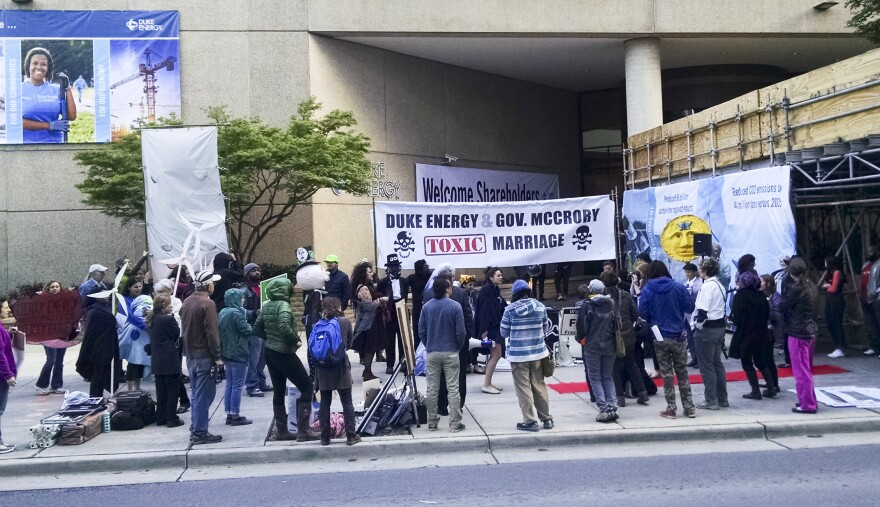 About 50 people from a dozen groups protested outside Duke's annual meeting in May 2016.
