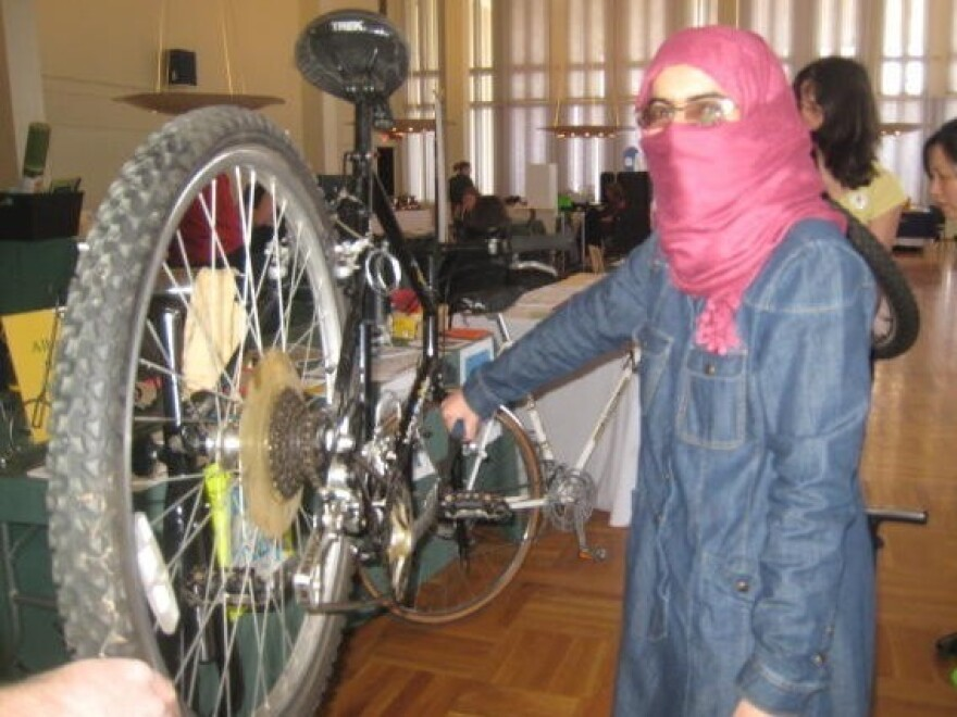 Working on bikes at a spring event.