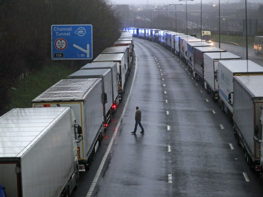 Freight trucks are parked on the M20 near Folkestone, Kent, England, as part of Operation Stack after the Port of Dover was closed and access to the Eurotunnel terminal suspended. There are mounting concerns over a highly contagious new variant of the coronavirus which led several nations to suspend travel and shipments from the U.K.