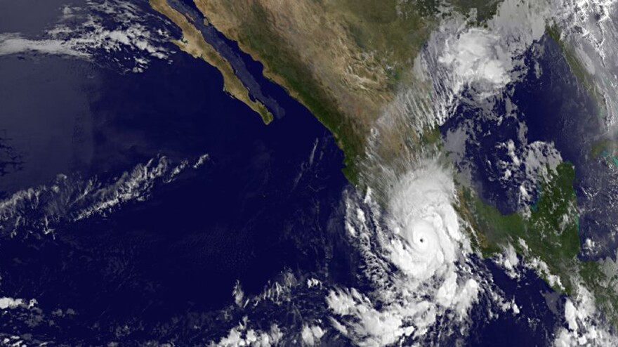 Hurricane Raymond is seen at 2 p.m. ET Monday, in a photo provided by NOAA. The storm is threatening an area of Mexico that's still coping with the effects of last month's massive rains.