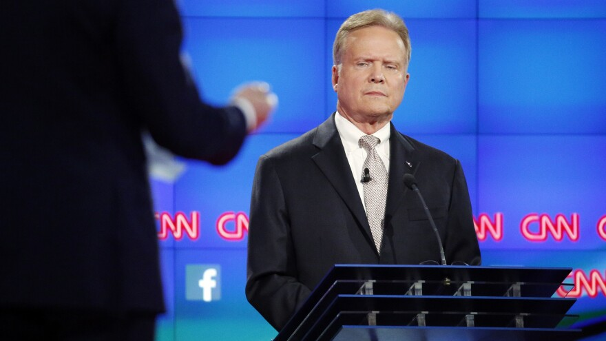 Democratic presidential candidate and former Virginia Sen. Jim Webb listens during the CNN Democratic presidential debate in Las Vegas on Oct. 13.