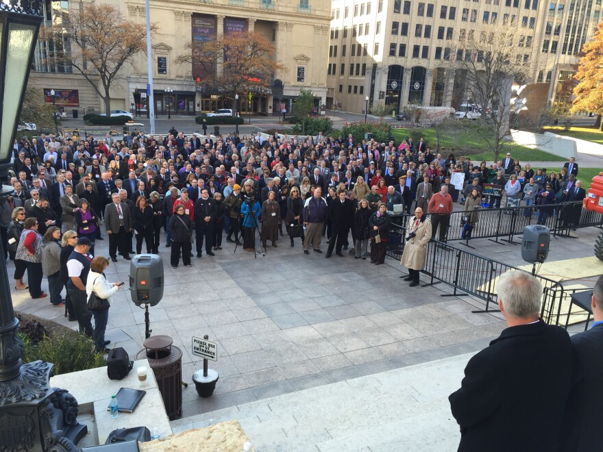 photo of Statewide School Administrators rally