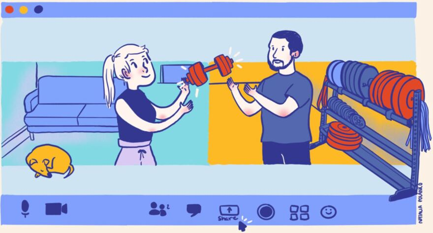 Illustration of man and woman working out in gym
