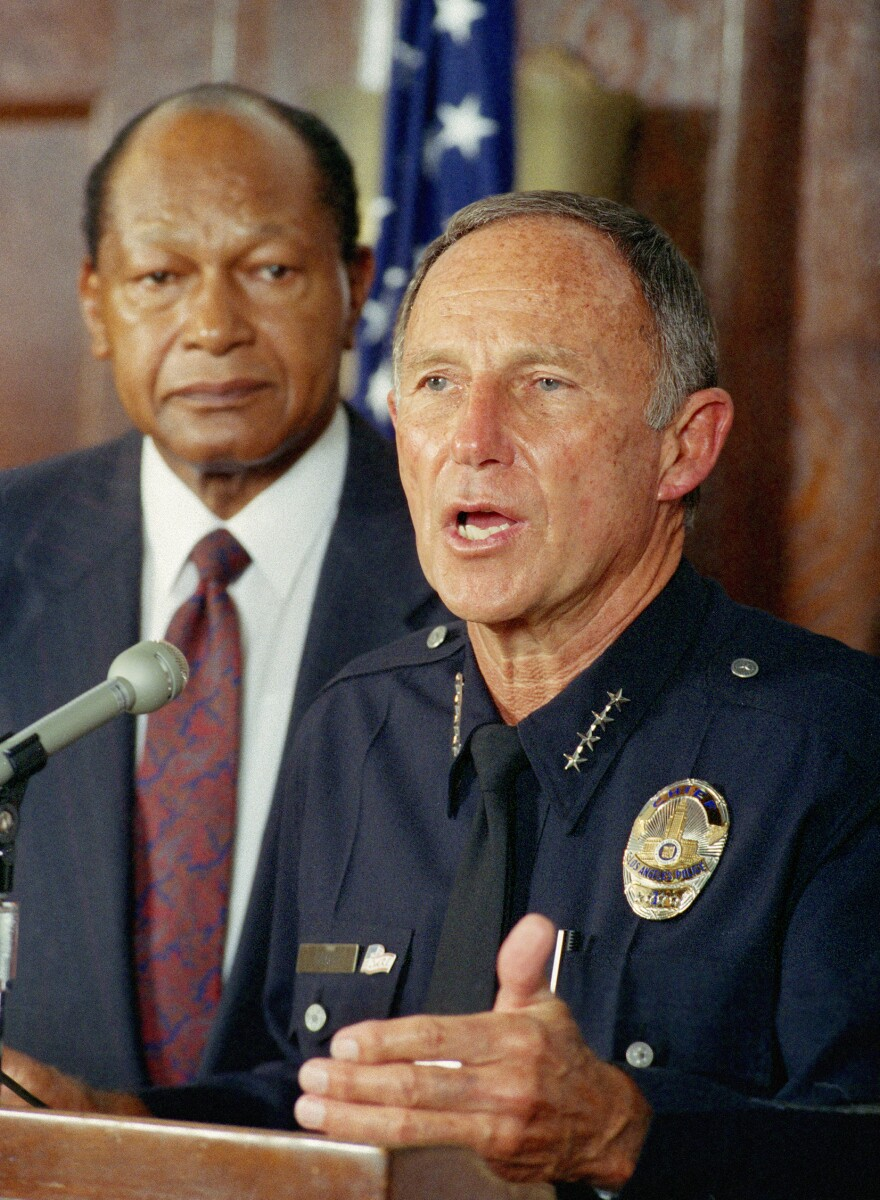 Los Angeles police chief Daryl Gates, along with Mayor Tom Bradley, answers questions  about the violence that broke out on April 30, 1992.