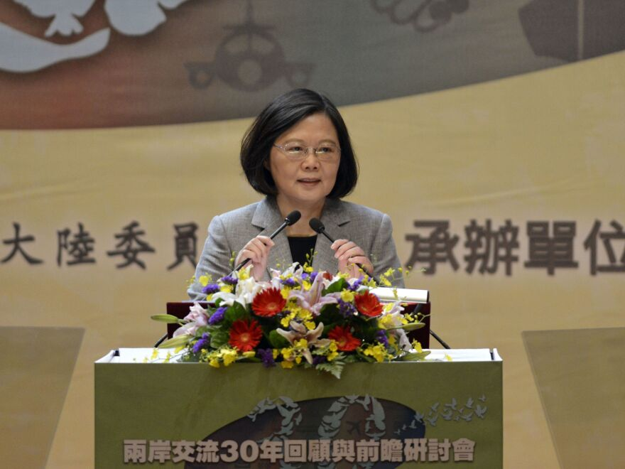 """Taiwan's President Tsai Ing-wen speaks at a conference on Taiwan-China relations organized by Taiwan's Mainland Affairs Council in Taipei on Oct. 26. Tsai said there was an """"opportunity for change"""" and called for dialogue with Chinese leader Xi Jinping."""
