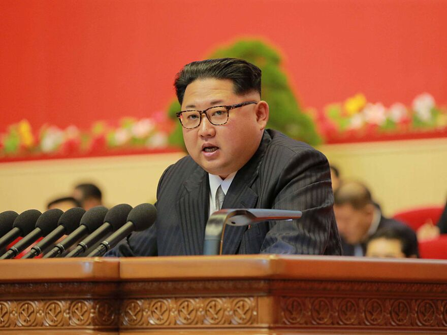 North Korean leader Kim Jong-Un reporting works of North Korean Workers Party Central Committee during the second-day of the 7th Workers Party Congress in Pyongyang.