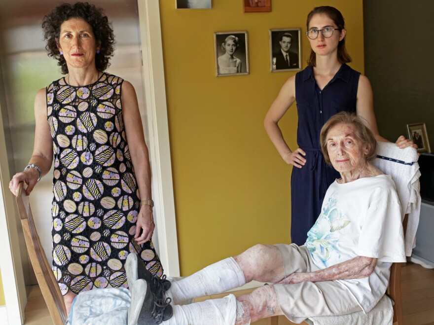 Dr. Rita Redberg (left) struggles to stop other doctors from performing unnecessary procedures on her mother, Mae, (seated). Redberg's daughter, Anna Larson, looks on.