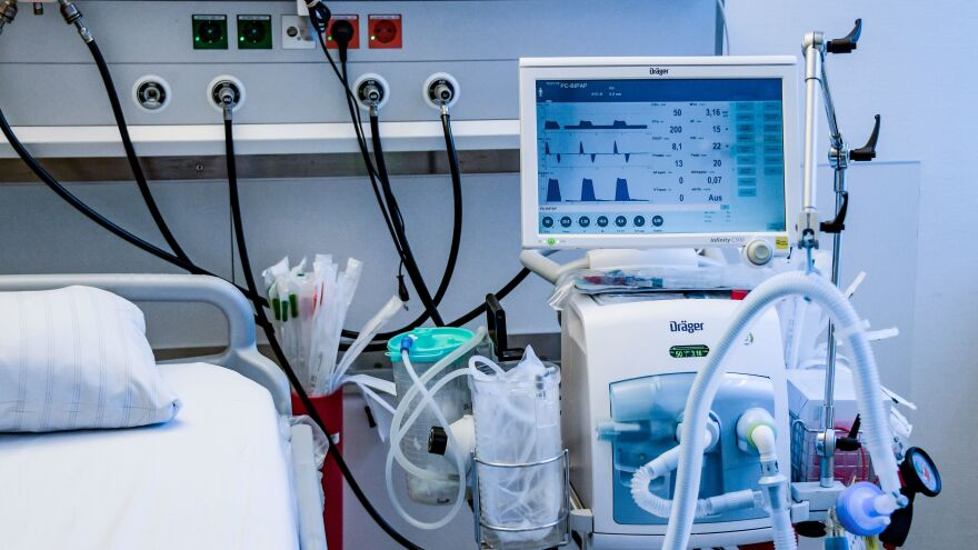 A ventilator is pictured during a training in Hamburg, Germany, on March 25. The medical devices can be life-saving for patients with severe COVID-19 cases, but there aren't enough to meet the expected need in the United States.