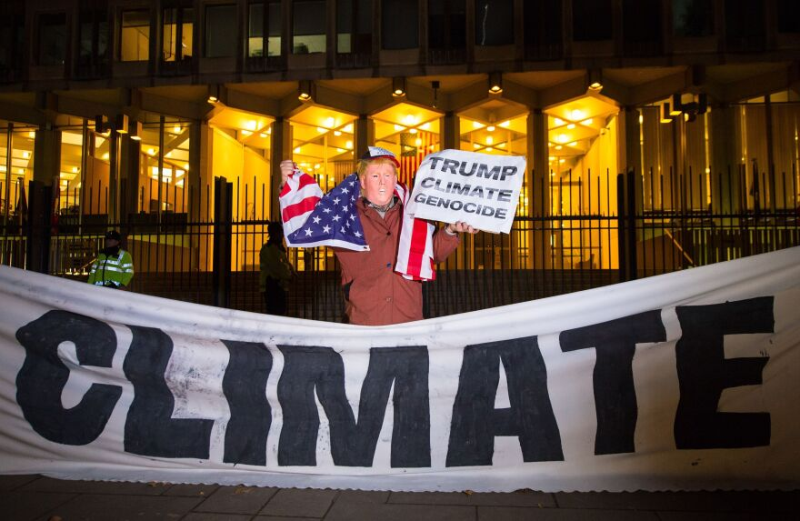 A protester dressed as Donald Trump demonstrates outside the U.S. Embassy in London.