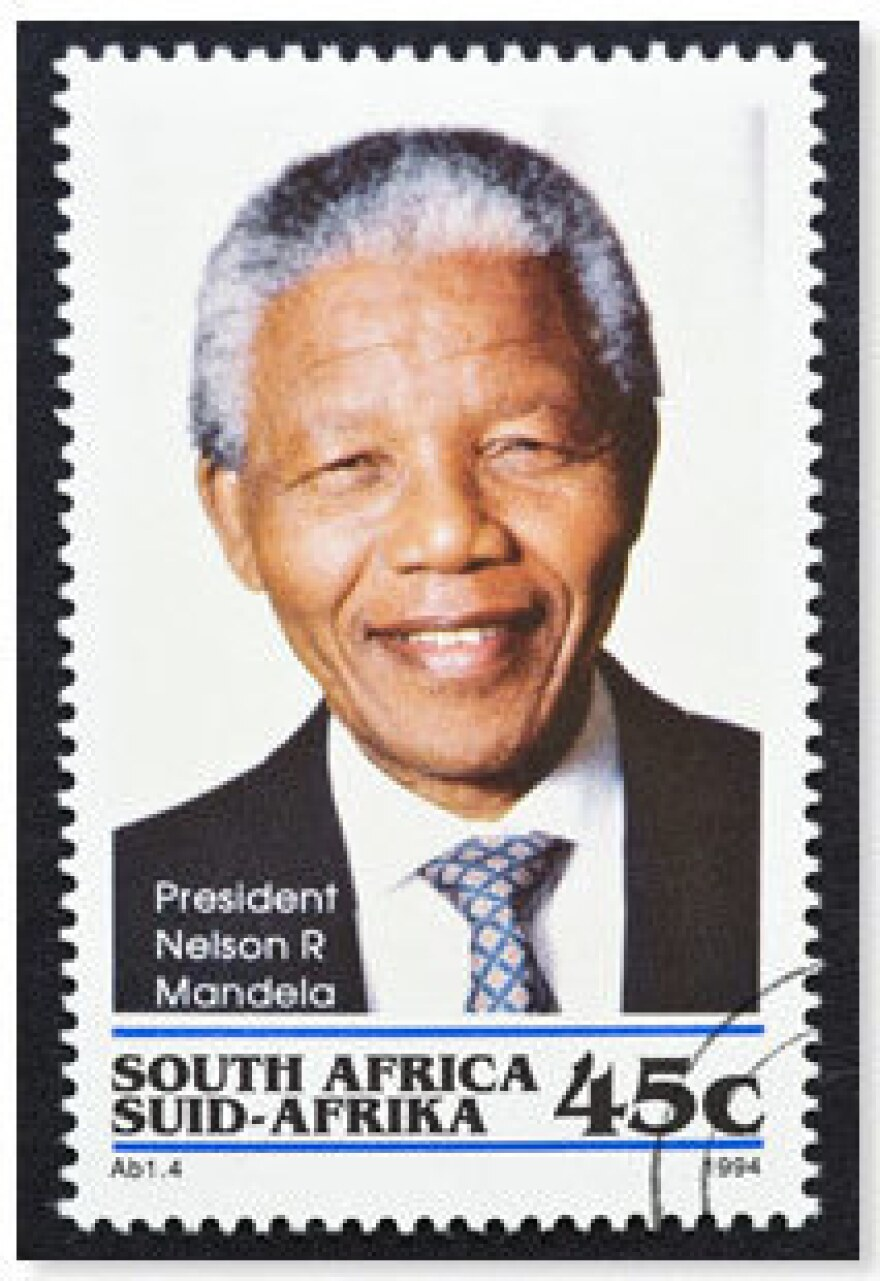 A South African stamp features President Nelson Mandela.