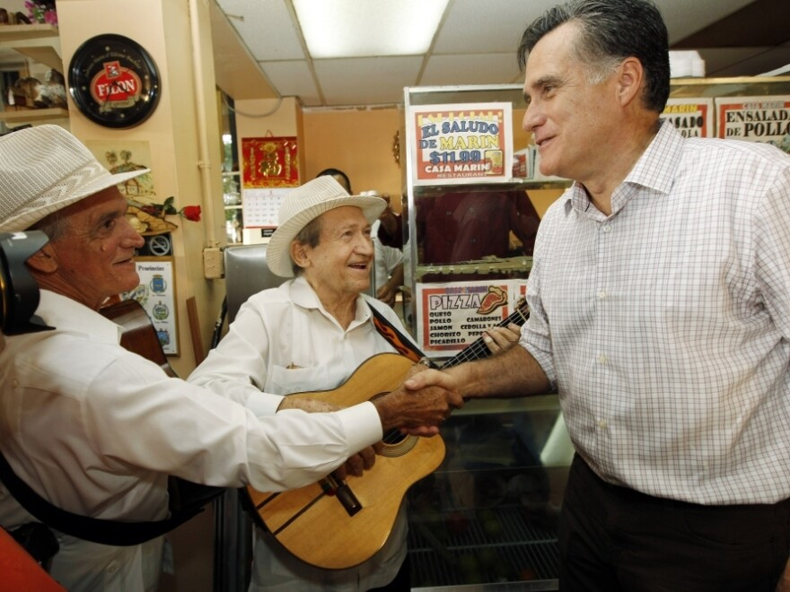 Mitt Romney campaigns at Casa Marin restaurant in Hialeah, Fla., on Sunday.