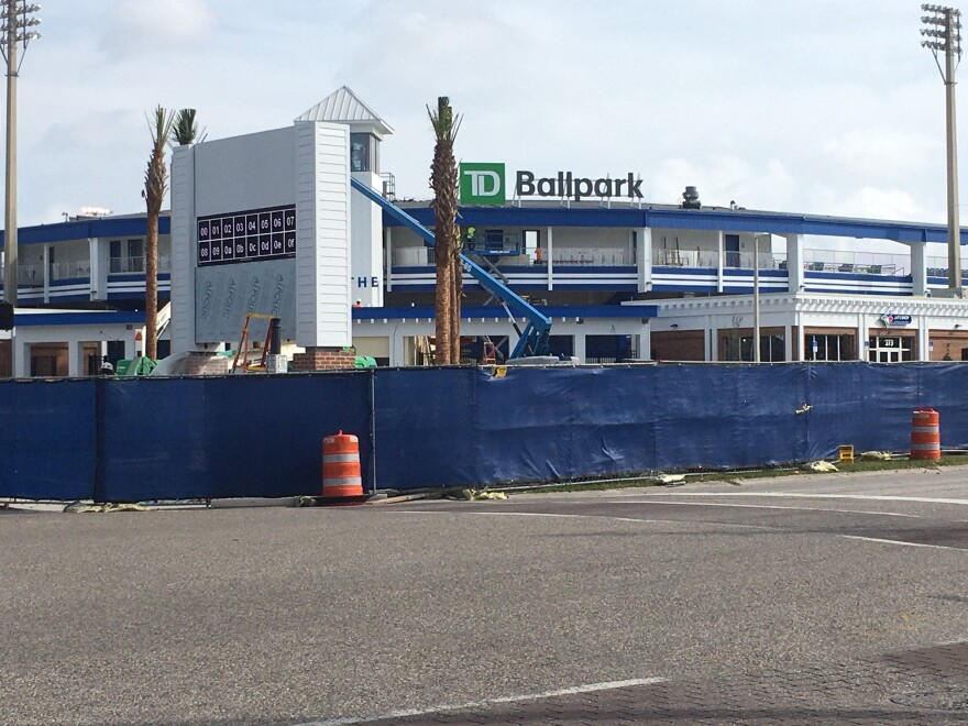 TD Ballpark sits sectioned off while crew work on renovations before 2020 spring training games.