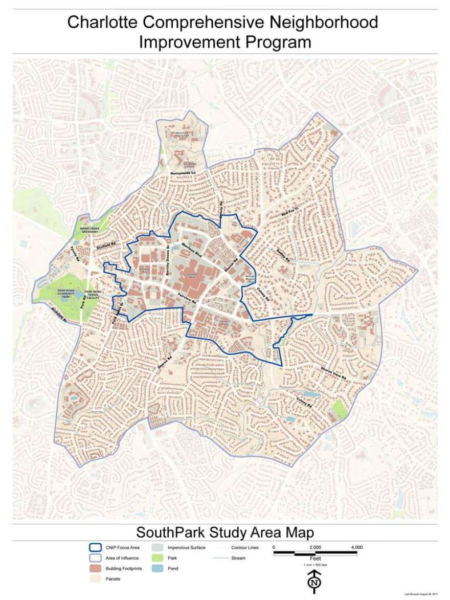 Map shows the area studied as part of the SouthPark neighborhood improvement program study.