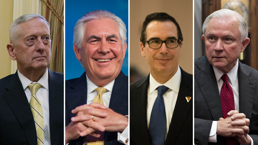 From left: Retired Marine Gen. James Mattis, former Exxon Mobil CEO Rex Tillerson, Steve Mnuchin and Sen. Jeff Sessions have all been nominated to high-profile positions in President-elect Trump's Cabinet.